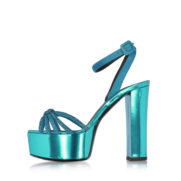 Blue Prom Shoes Chunky Heel Ankle Strap Platform Sandals Evening Shoes image 2