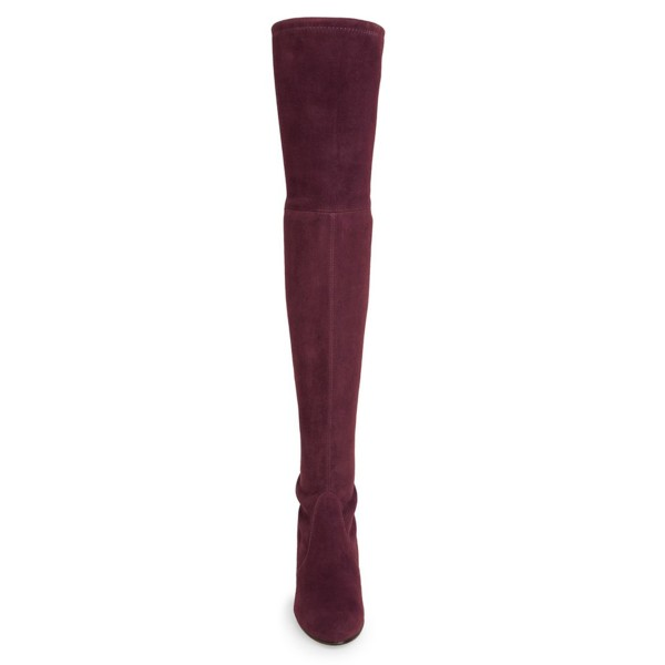 Women's Suede Burgundy Chunky Heel Boots Round Toe Thigh-high Boots image 3