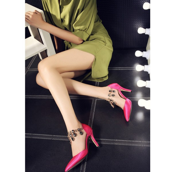 Hot Pink Satin Evening Shoes Jeweled Closed Toe Double D'orsay Pumps image 3