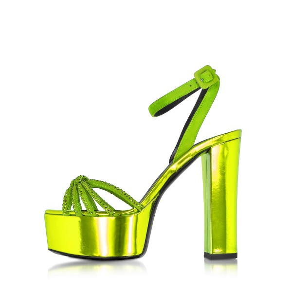 Neon Prom Shoes Ankle Strap Chunky Heel Platform Sandals Evening Shoes image 2