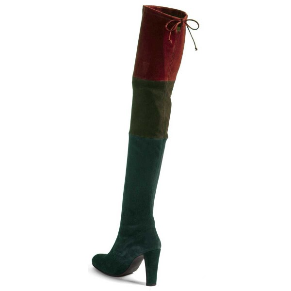 Women's Green Stitching Color Over-The- Knee Chunky Heel Boots image 3