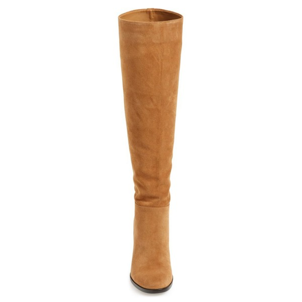 Khaki Suede Knee High Vintage Shoes Suede Boots image 3