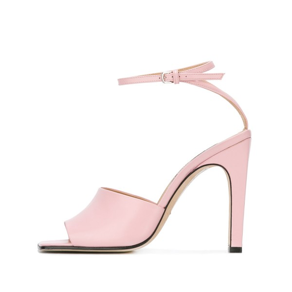 Women's Pink Heels Peep Toe Ankle Strap Sandals  image 3