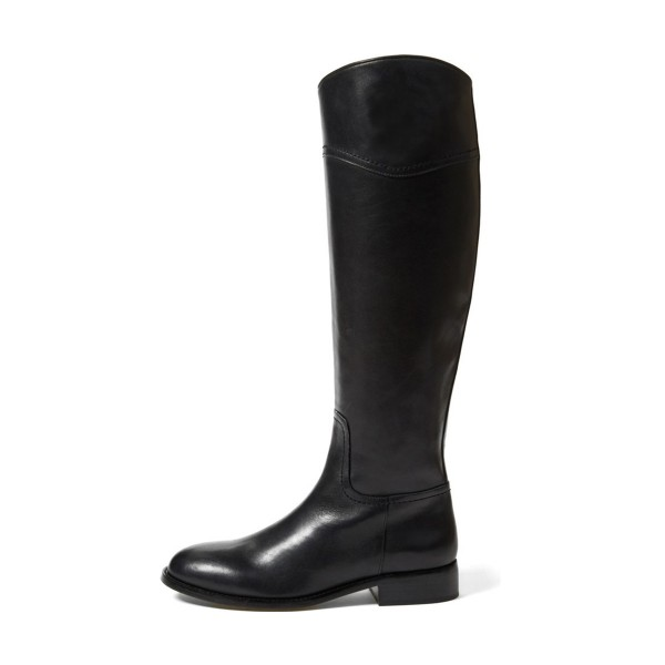 Black Riding Boots Round Toe Shiny Vegan Leather Flat Knee Boots image 4