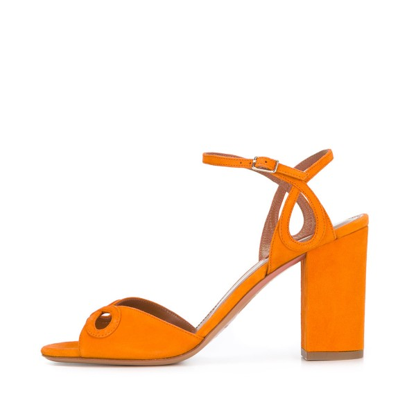 Women's Orange Ankle Strap Prom Chunky Heel Sandals image 3