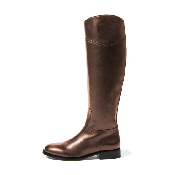 Brown Riding Boots Round Toe Shiny Vegan Leather Flat Knee Boots image 2