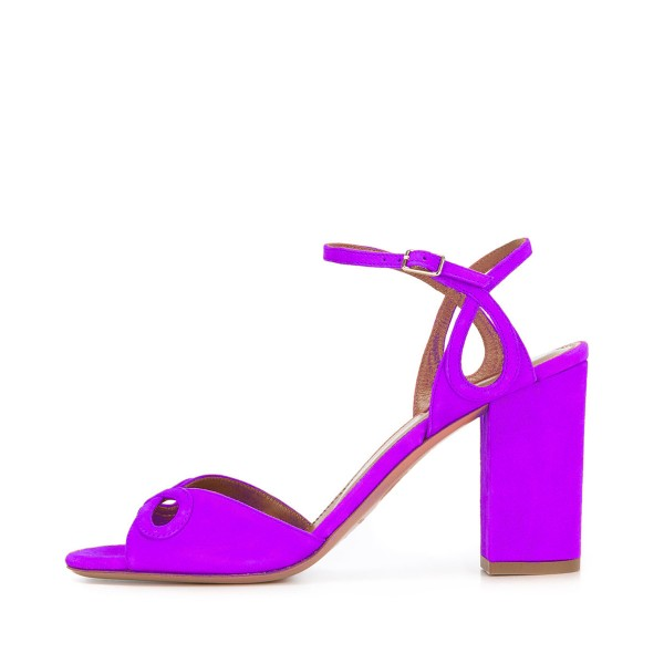 Women's Purple Ankle Strap Heels Prom Chunky Heels Sandals  image 2