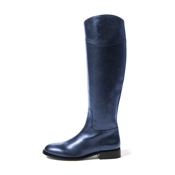 Navy Fashion Boots Flat Knee-high Comfy Boots image 3
