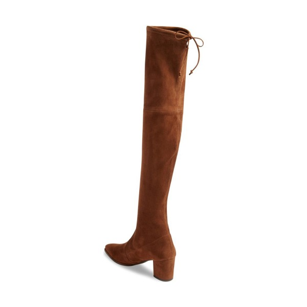 Brown Long Boots Suede Chunky Heel Thigh-high Boots image 2