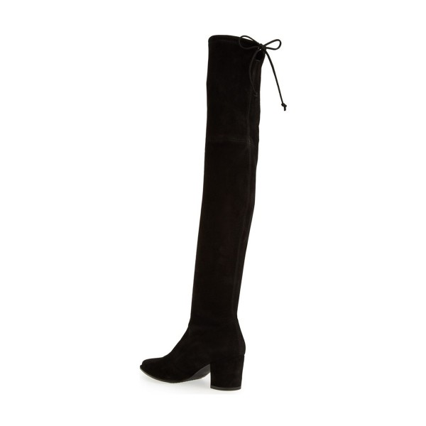 Black Long Boots Suede Chunky Heel Thigh-high Boots image 3