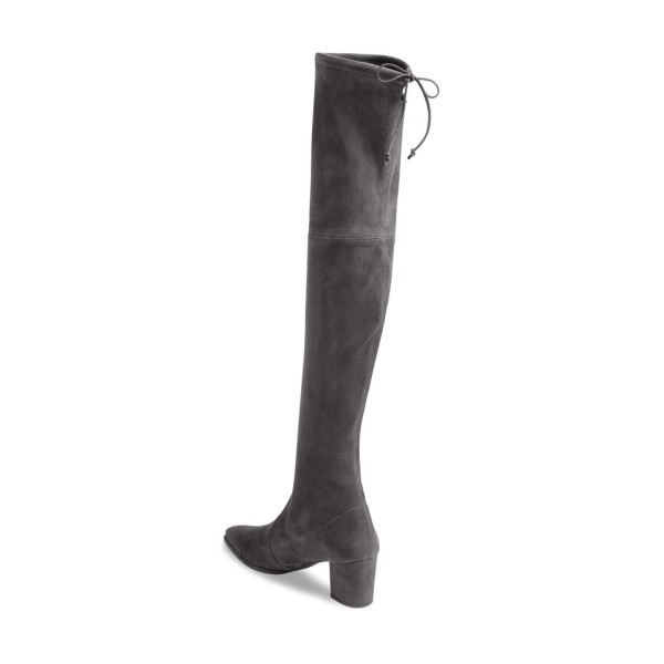Dark Grey Long Boots Suede Block Heel Thigh-high Boots image 2