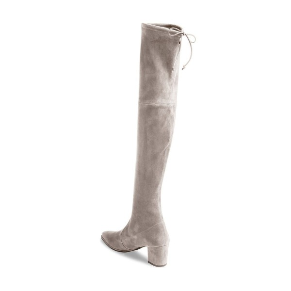 Taupe Boots Pointy Toe Block Heel Suede Fashion Over-the-Knee Boots image 3