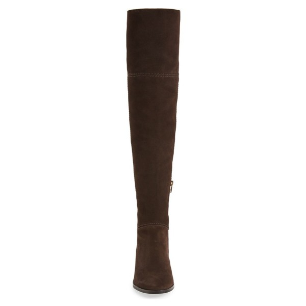 Women's  Brown Over-The-Knee Winter Chunky Heel Boots image 2