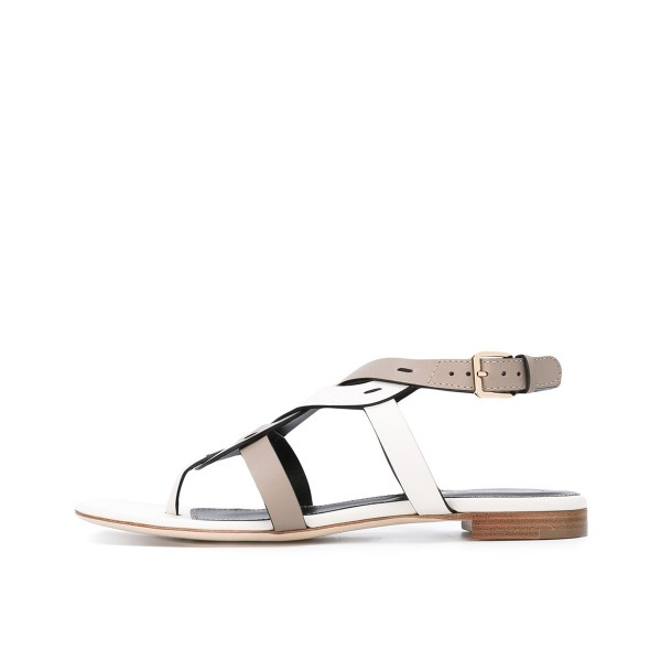 FSJ White and Tan Thong Sandals Trending Flat Summer Sandals image 2