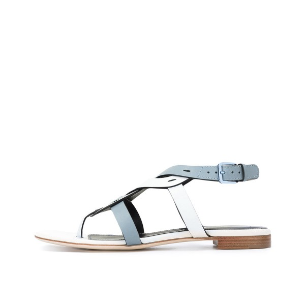 FSJ White and Blue Thong Sandals Trending Flat Summer Sandals image 2