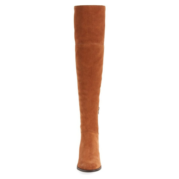 Tan Boots Suede Long Boots Chunky Heeel Over-the-knee Boots image 3