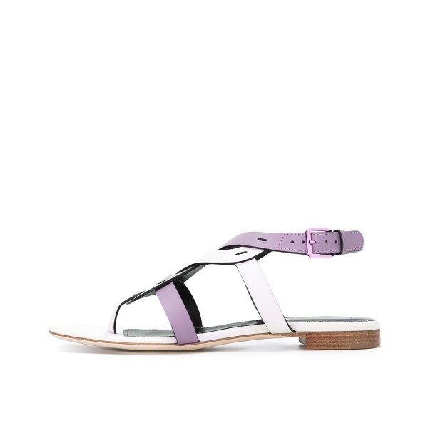 FSJ White and Purple Thong Sandals Trending Flat Summer Sandals image 2