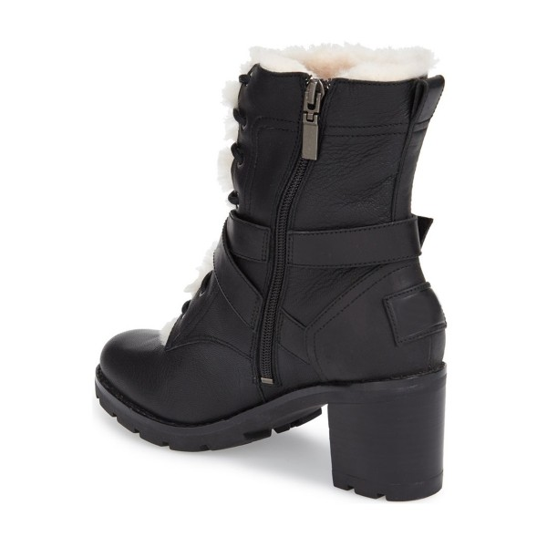 Women's Black Lace-up Cold Weather Martin Chunky Heels Boots image 3
