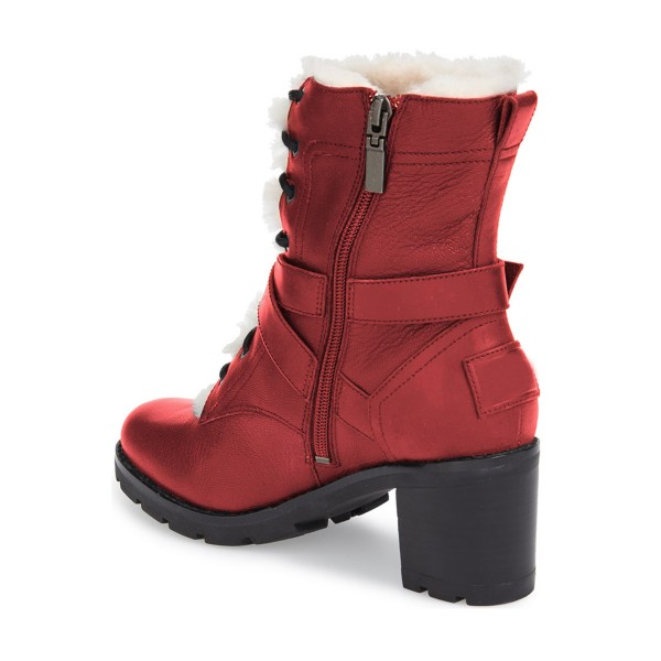Red Combat Boots Lace up Chunky Heels for Winter image 3