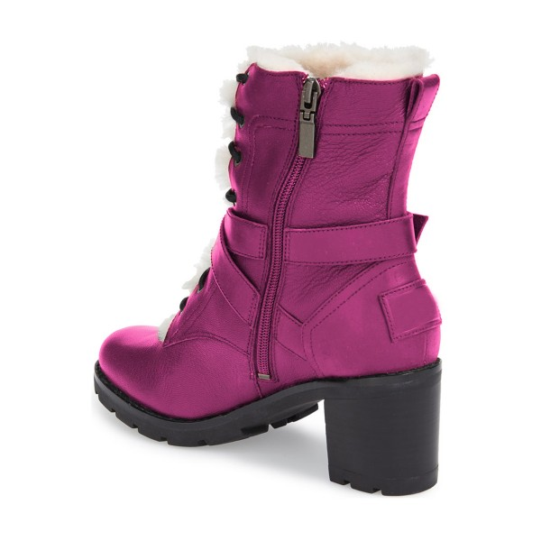 Women's Fuchsia Lace-up Cold Weather Chunky Heels Martin Boots image 2