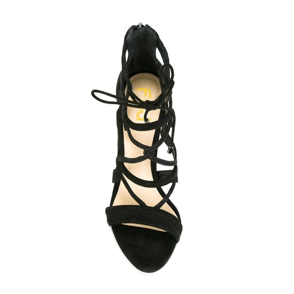 Women's Black Suede Strappy Lace Up Stiletto Heels Sandals image 5