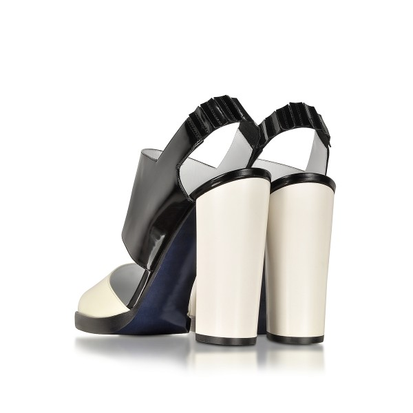 Black and White Formal Shoes Block Heel Slingback Sandals image 2