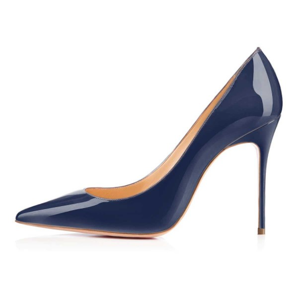 Navy Blue Patent Leather High Heels Pointy Toe Office Shoes image 2