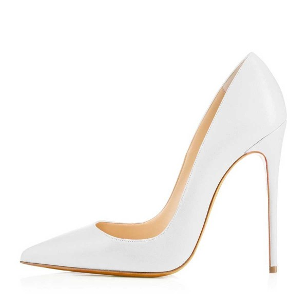 White Office Stiletto Heels Dress Shoes Pointy Toe Commuting Pumps image 2