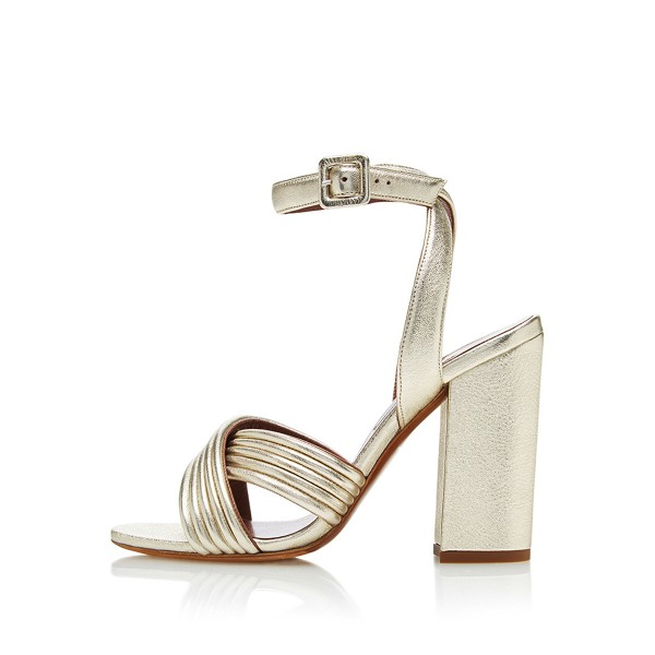 Champagne Ankle Strap Sandals Open Toe Block Heels  image 2