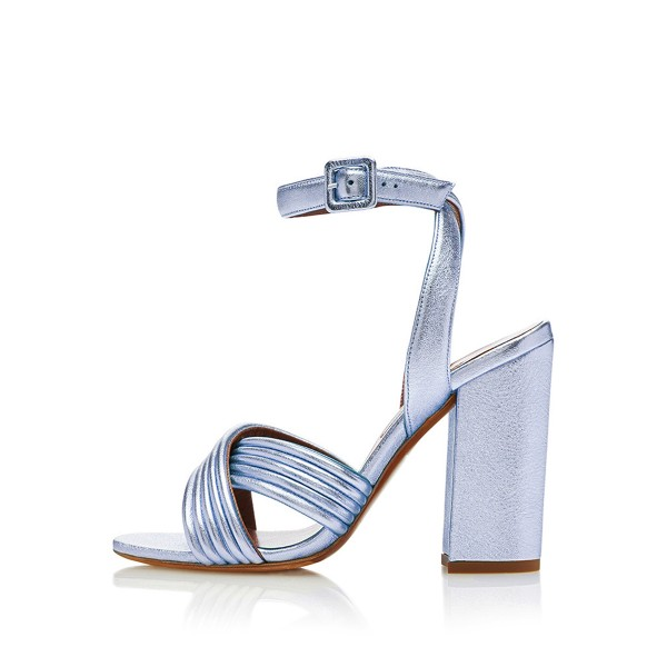 Women's Blue Pumps Heels Ankle Strap Chunky Heel Sandals  image 2