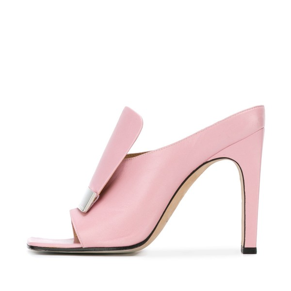 Pink Block Heels Women's Formal Shoes Mule Sandals image 2