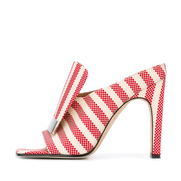 Women's Red and White Plaid Stripes Formal Chunky Heels Mule Sandals image 3