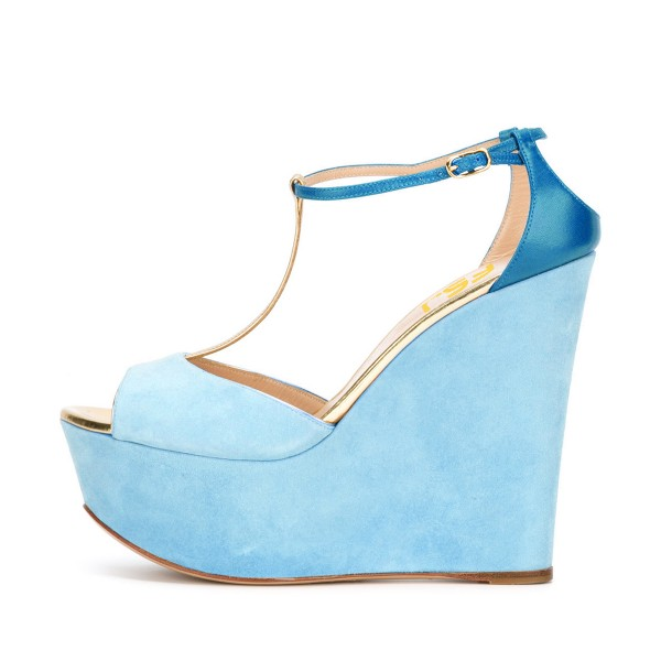 Light Blue Wedge Sandals T-strap Suede Peep Toe Platform Heels image 2