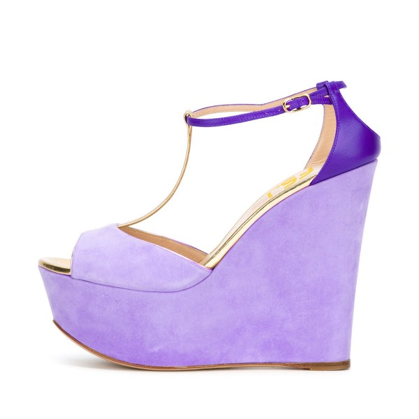 Women's Purple T-strap Peep Toe Wedge Sandals image 3
