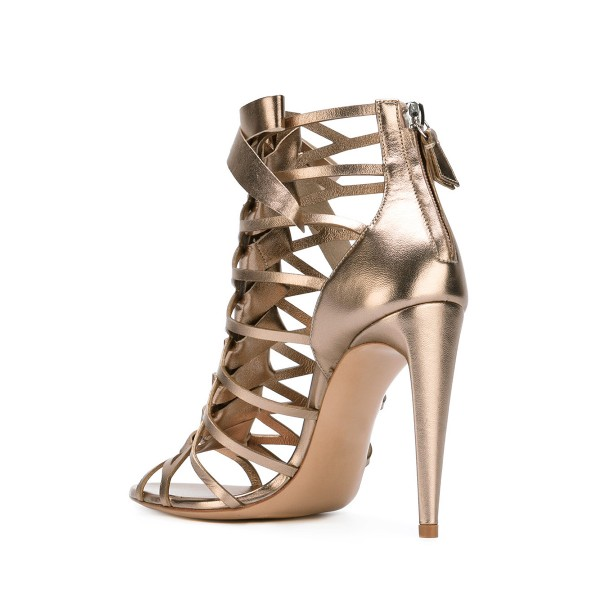 Champagne Gladiator Sandals Hollow out Mirror Leather Open Toe Stiletto Heels image 3
