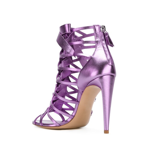 Women's Purple Mirror Leather Bow Hollow out Stiletto Heels Gladiator Sandals image 3