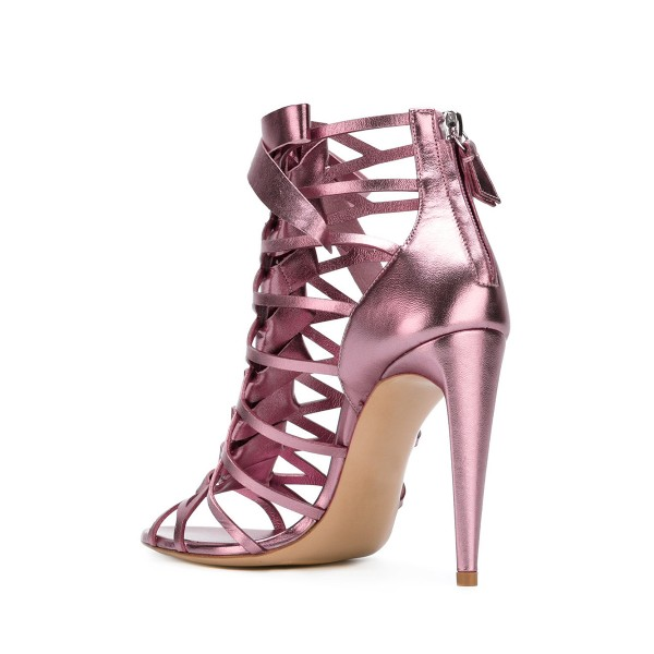 Women's Pink Mirror Leather Bow Hollow out Stiletto Heel Gladiator Sandals image 2