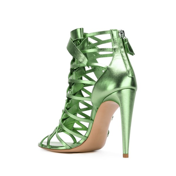 Women's Green Bow Hollow out Stiletto Heels Gladiator Sandals image 2