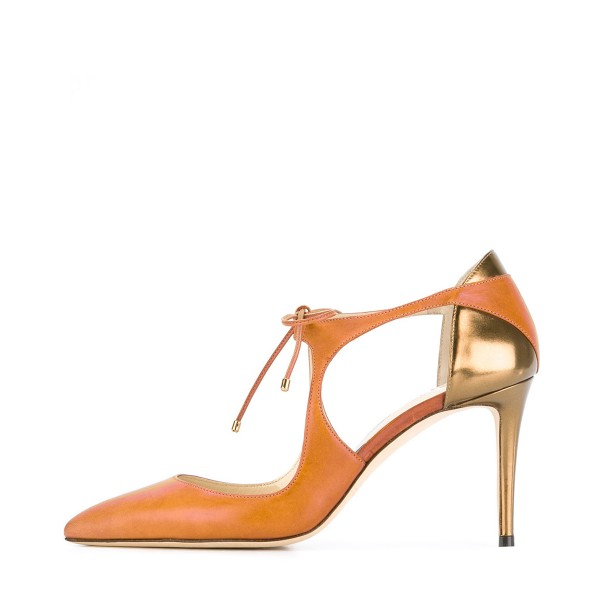 Women's Orange Pointed Toe Stiletto Lace-up Heels Sandals image 2
