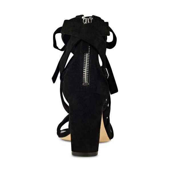 Black Strappy Sandals Lace up Suede Block Heels image 2