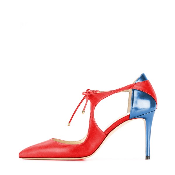 Red and Blue Lace-up Heels Pointy Toe 3 Inch Stiletto Heels image 2
