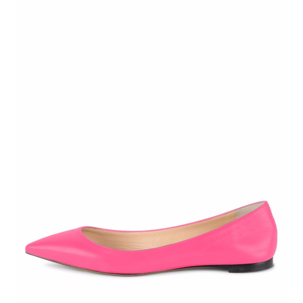 Hot Pink Comfortable Flats Pointy Toe Shoes for Girls image 2