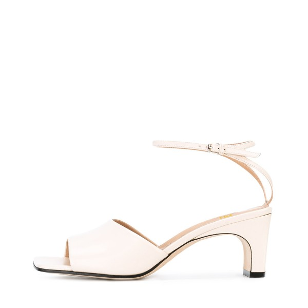 Women's White Heels Ankle Strap Office Chunky Heel Sandals  image 2