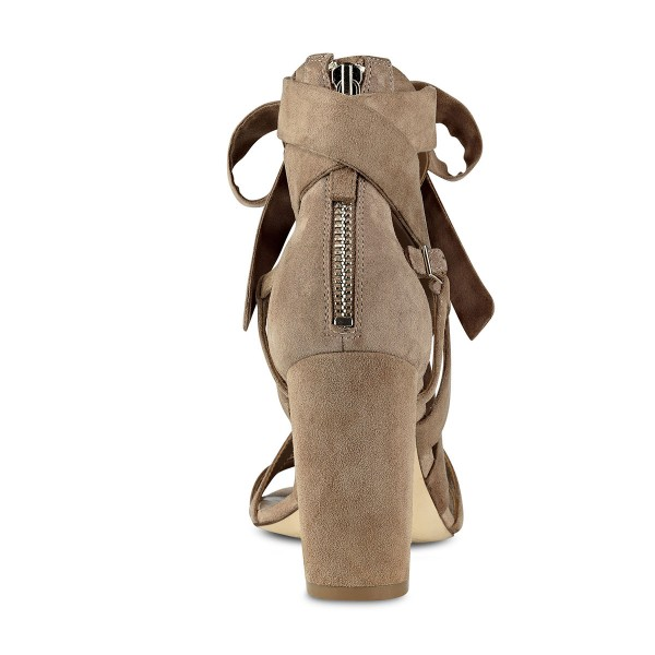 FSJ Khaki Suede Strappy Sandals Open Toe Chunky Heels Sandals image 4