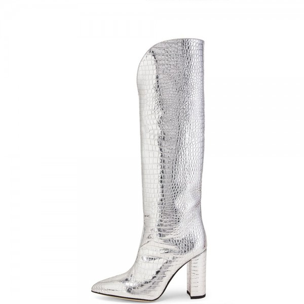Silver Chunky Heel Boots Pointed Toe Knee High Boots image 2