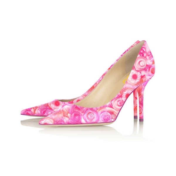 4 inch Heels Pink Floral Heels Pointy Toe Formal Stiletto Heel Pumps image 1