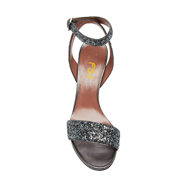 Grey Glitter Shoes Open Toe Ankle Strap Block Heel Sandals image 2