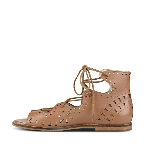 Brown Open Toe Flats Lace-up Sandals School Shoes image 2