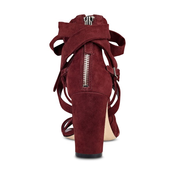 Women's Burgundy Hollow out Strappy Sandals image 4