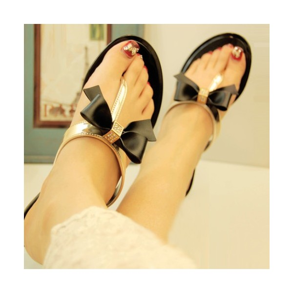 Black and Gold Summer Sandals Comfortable Beach Shoes with Bow image 4